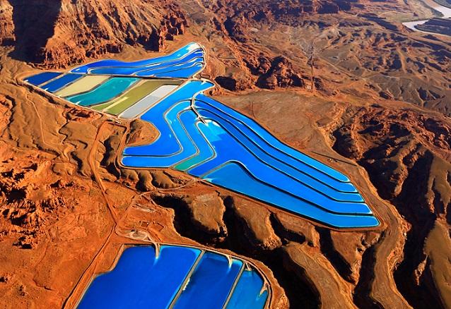 Potash evaporation ponds in the Utah dessert, US. Source, Jassen Todorov, Solent News, REX, Shutterstock