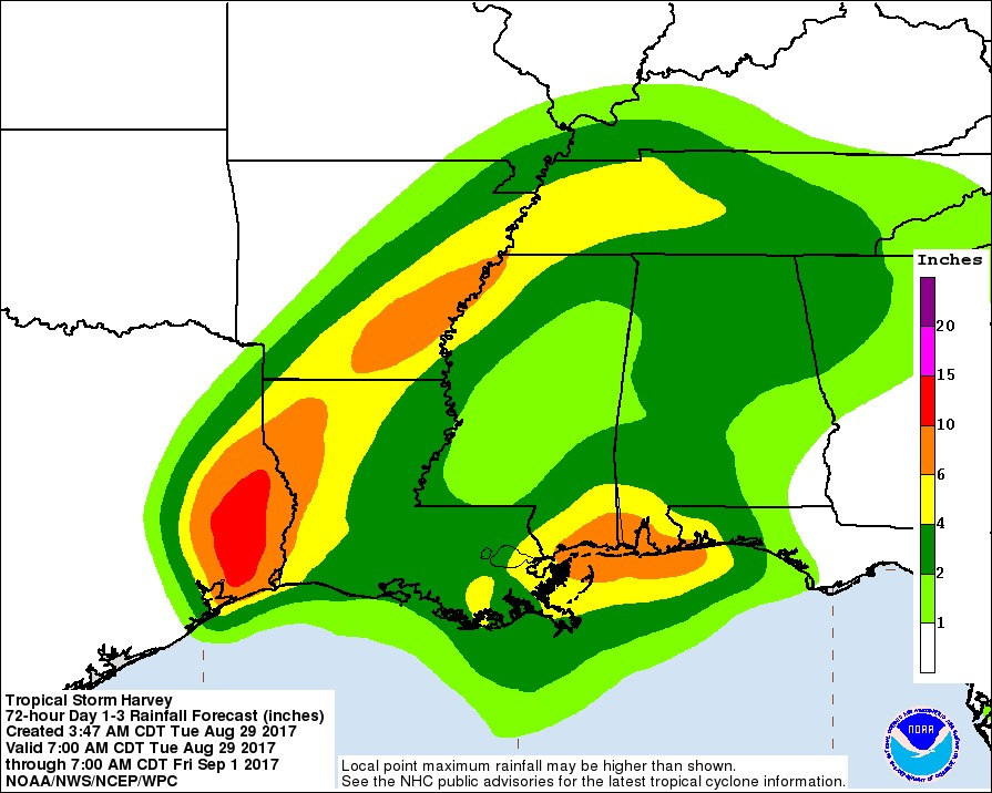Hurricane Harvey rainfall update 29 August