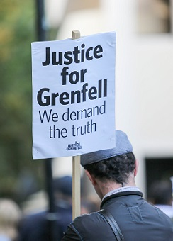 Grenfell Tower silent march, London, UK - 14 Sep 2018