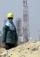 A worker at Al-Jubail, site of the new development.
