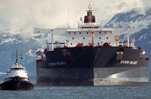 Exxon Valdez under tow after 1989 oil spill