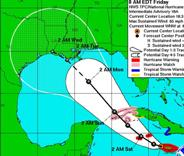 Expected path of Gustav as of 7:00 Houston time