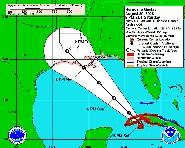 Three-day projected path of Gustav