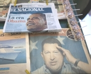 Hugo Chavez and Barack Obama at a Venezuelan newstand