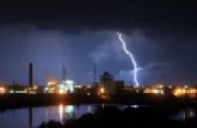 Lightning over a Dow plant