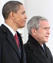 President-elect Obama and President Bush at swearing-in
