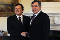 Jose Manuel Barosso and Gordon Brown met in London on Monday