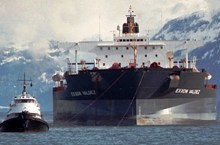 The Exxon Valdez under tow after the 1989 oil spill