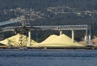 Piles of bulk sulphur