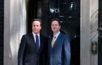 New UK Prime Minister David Cameron (left) with his deputy Nick Clegg