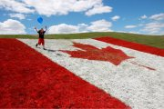 Canadian flag on a field