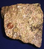 A piece of rare earth ore with US penny for scale