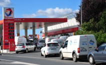 Queues for fuel at a Total service station in Normandy