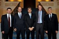 Callum MacLean, INEOS board member, Martin Brudermuller, BASF board member, Roberto Gualdoni, CEO of Styrolution, Jim Ratcliffe, INEOS chairman, Jürgen Hambrecht, BASF chairman.