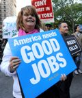 US jobs protester