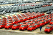 Brand-new cars for sale are seen in Chery