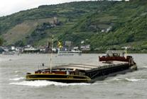A barge on the river Rhine near Koblenz
