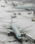 Airplane traffic grounded by snow