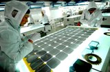 Solar cell panels being tested in China.