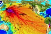 NOAA projected tsunami wave map, darker shades most significant