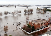 Flooding on the Mississippi river in Iowa