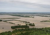 The flooded Mississippi river