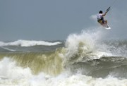 A windsurfer takes advantage of Hurricane Irene