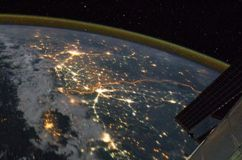 The floodlit border between India and Pakistan as seen from space