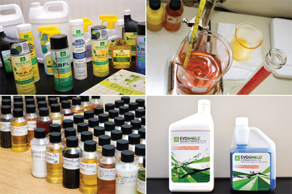 Green products from Renewable Lubricants (left, top right) and Amyris (bottom right)