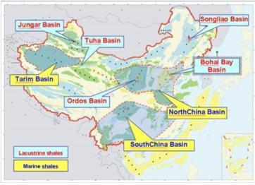 China shale deposits