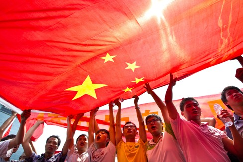 Demonstrators on the streets in China in September 2012