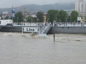 The Danube in flood at Linz