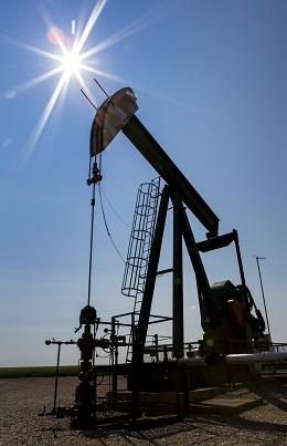 Low angle view of a pump jack. (Design Pics Inc/REX/Shutterstock)
