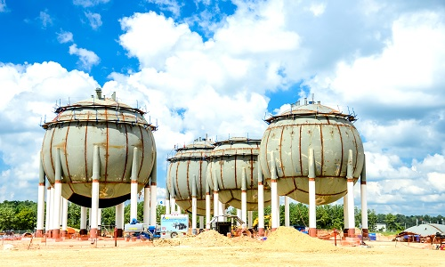 Olefin storage spheres under construction at the world-scale Lake Charles Chemicals Project in Louisiana. (Sasol)