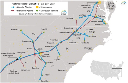 US Colonial Begins Excavation On Damaged Pipeline - Map of colonial pipeline in us