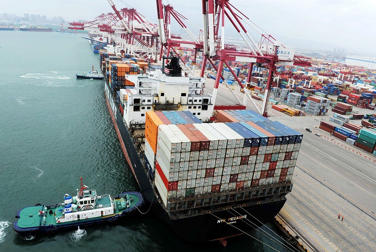 Container port at Qingdao, China