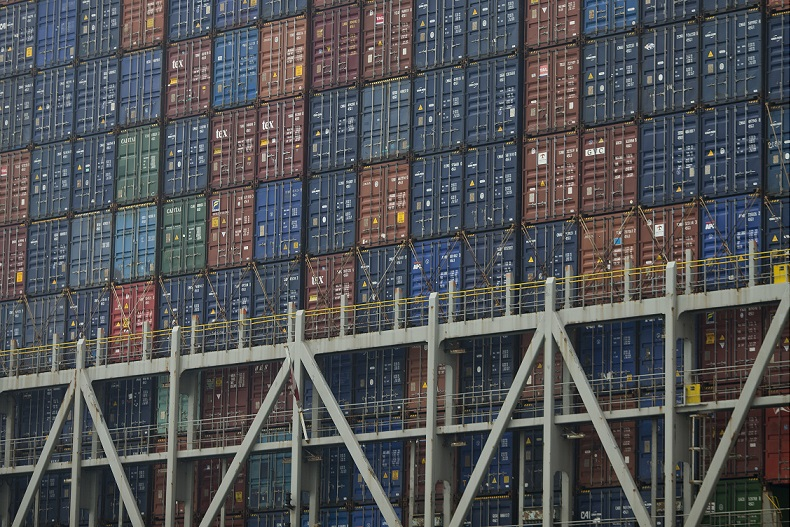 Shipping containers in Hong Kong terminal 22 May