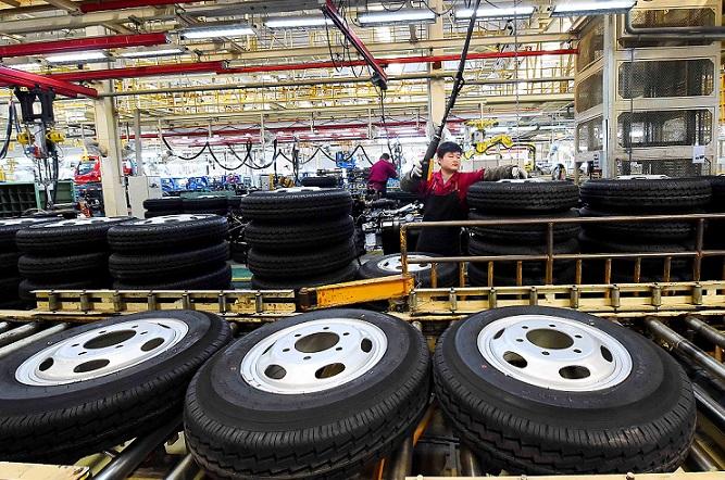 Tyres at China automotive plant 26 May