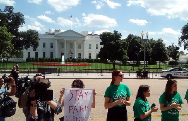 Protestors outside White House. Paris Accord