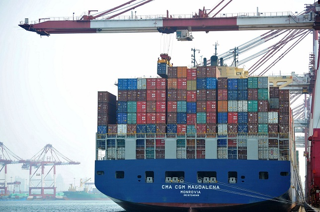 Containers at Qingdao port, China 7 July