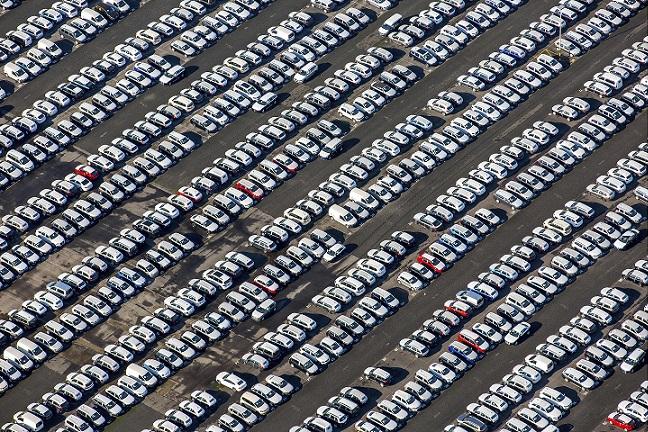 A car stockpile in Essen, Germany. Source - Hans Blossey, imageBROKER, REX, Shutterstock