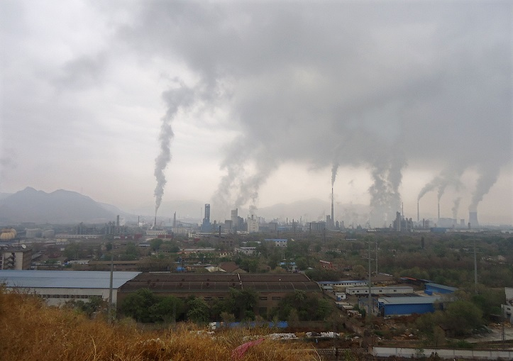 Chimneys at factories in Lanzhou City, China 4 August