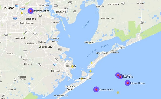 Vessels olefins stranded on Gulf Coast. Source - Marinetraffic.com