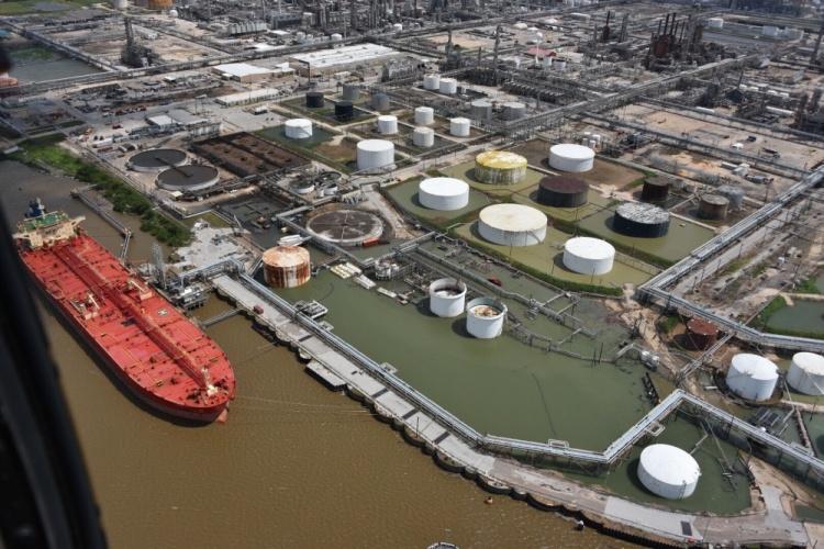 Coastguard photo of flyover of Houston Ports after Harvey