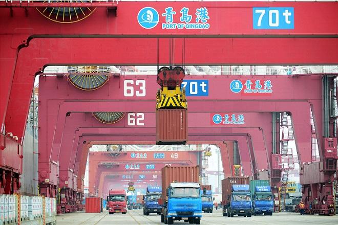 trucks at Qingdao port, China 14 September