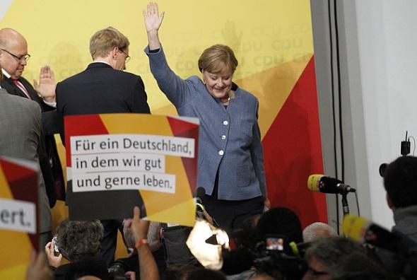 Merkel addresses supporters, 24 Sept 2017. Source - Simone Kuhlmey, Pacific Press via ZUMA Wire, REX, Shutterstock
