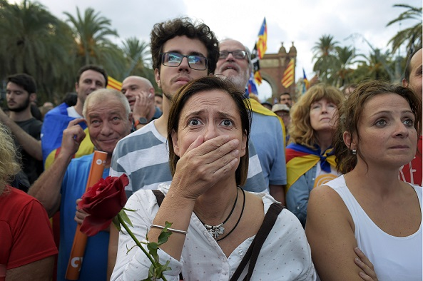 Disappointed Catalan independence supporters. Source - Danilo Balducci, ZUMA Wire, REX, Shutterstock