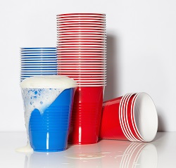 Polystyrene is used to make various plasticware including cups.