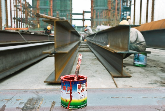 Paint can at a construction site